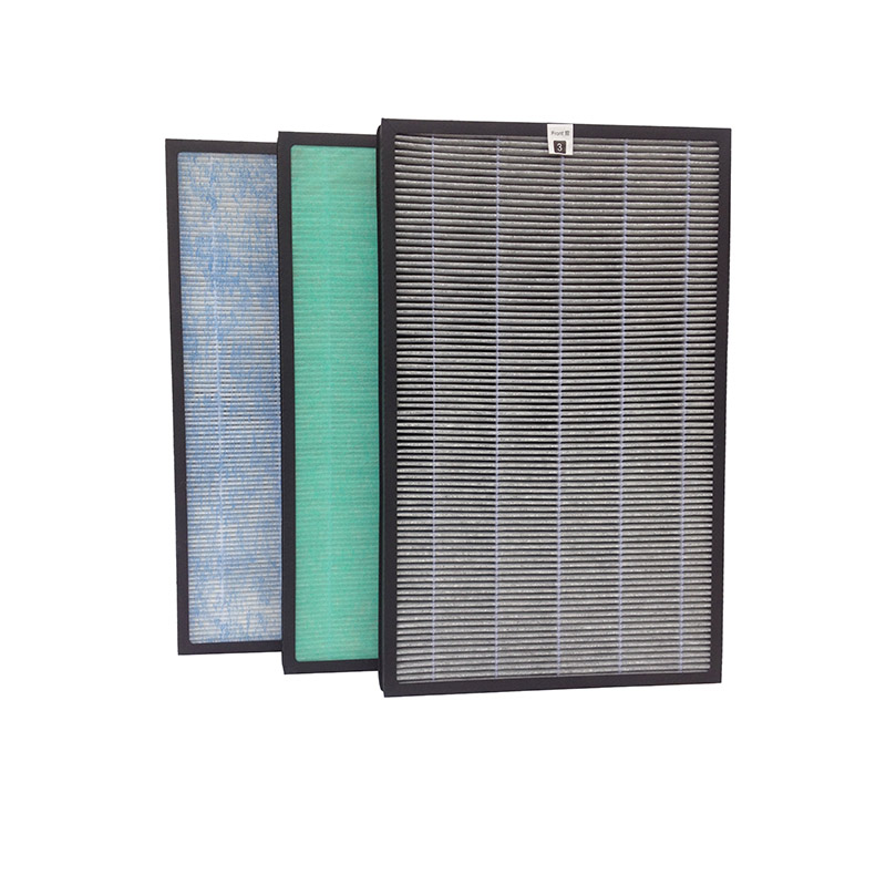 Double-effect filter with carbon cloth